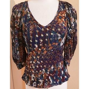 Vintage 70s Puff Sleeve Floral Gold Top